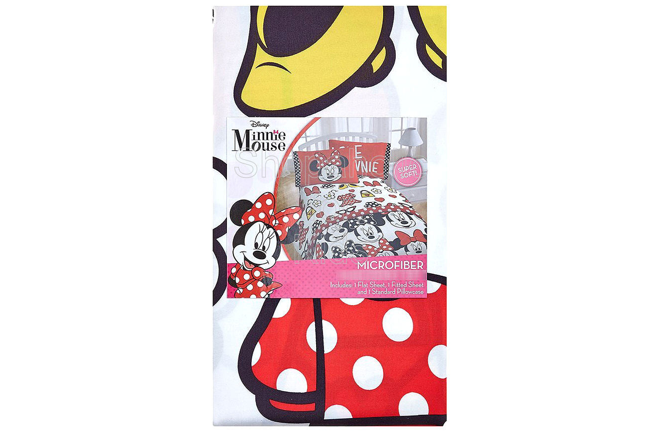 Minnie Mouse Fashion 3-Piece Twin Sheet Set - Shopaholic for Kids