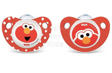 NUK Sesame Street Elmo Orthodontic Pacifiers, 0-6 Months, Pack of 2