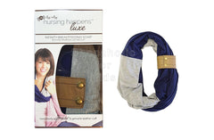 Itzy Ritzy Nursing Happens Luxe Infinity Breastfeeding Scarf (Navy w/Leather Cuff)