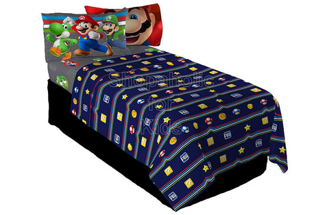 Nintendo Super Mario Trifecta Fun Sheet Set Twin