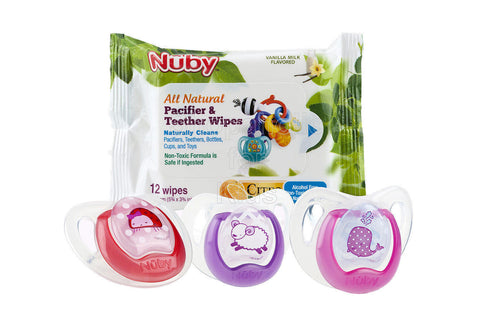 Nuby Comfort Orthodontic Pacifier and Pacifier Wipe Combo 3 Pack, 6-12 Months