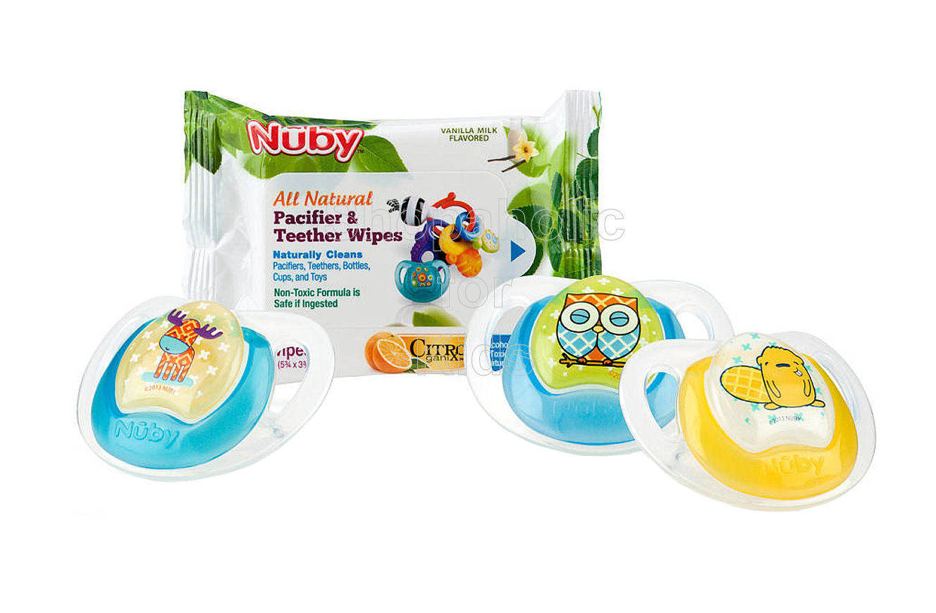 Nuby Comfort Orthodontic Pacifier and Pacifier Wipe Combo 3 Pack, 0-6 Months - Shopaholic for Kids