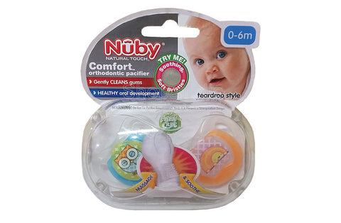 Nuby Comfort Orthopedic Pacifier, Owl, 0-6m, 2 count
