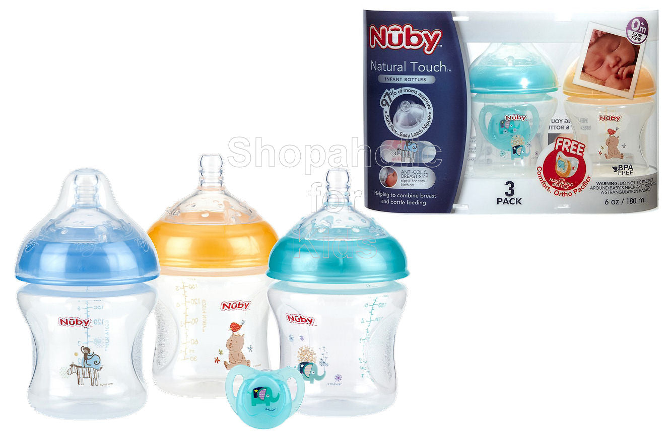 Nuby Natural Touch Baby Bottle 6oz - Pack of 3 (Free Comfort Ortho Pacifier) - Shopaholic for Kids