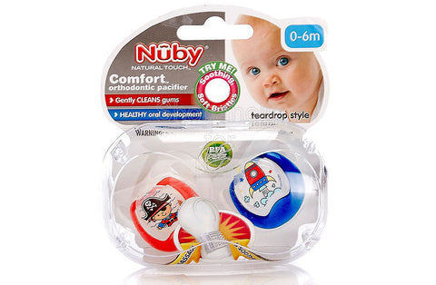 Nuby Comfort Orthopedic Pacifier, Pirate, 0-6m, 2 count