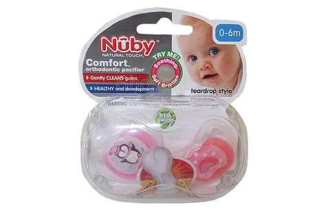 Nuby Comfort Orthopedic Pacifier, Penguin, 0-6m, 2 count