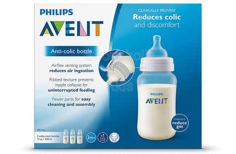Philips Avent Anti-Colic Clear, 11 oz Feeding Bottle, 3m+, 3 count