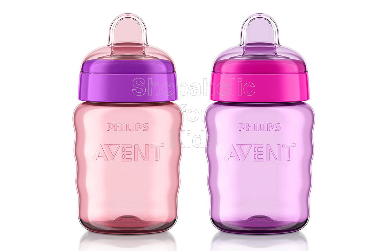 Philips Avent My Easy Sippy Cup, 9 Ounce, Pink/Purple - Pack of 2 - Shopaholic for Kids