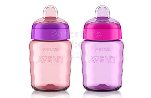 Philips Avent My Easy Sippy Cup, 9 Ounce, Pink/Purple - Pack of 2