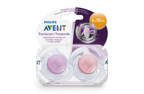 Philips Avent Orthodontic Pacifier, Translucent Colors, 6-18 Months, Pack of 2