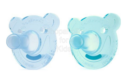 Philips Avent - Soothie Pacifier, Blue/Green, Bear Shape, 0-3 Months, Pack of 2