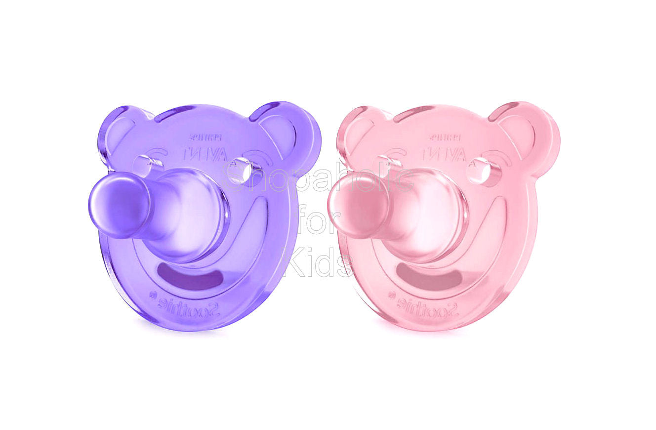 Philips Avent - Soothie Pacifier, Pink/Purple, Bear Shape, 0-3 Months, Pack of 2 - Shopaholic for Kids