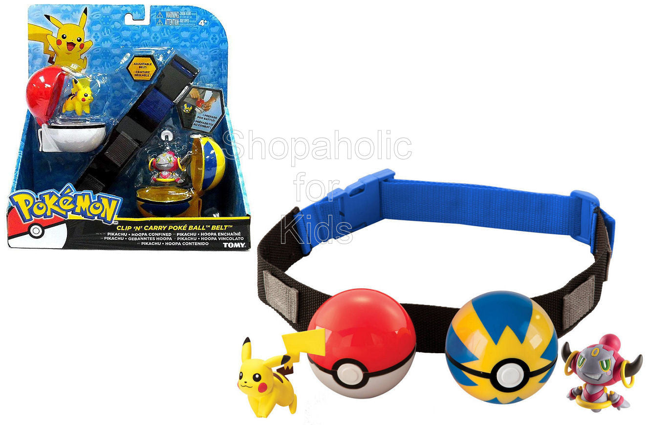 Pokemon Clip n Carry Poke Ball Belt - Pikachu with Poke Ball and Hoopa with Quick Ball - Shopaholic for Kids