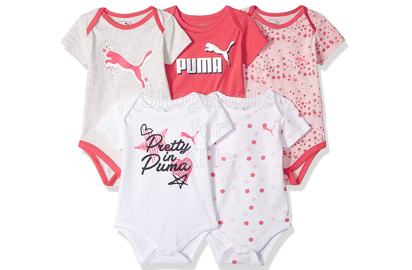 Puma Baby Girls Orange White Short Sleeves Onesies, 3-6mos, Pack of 5