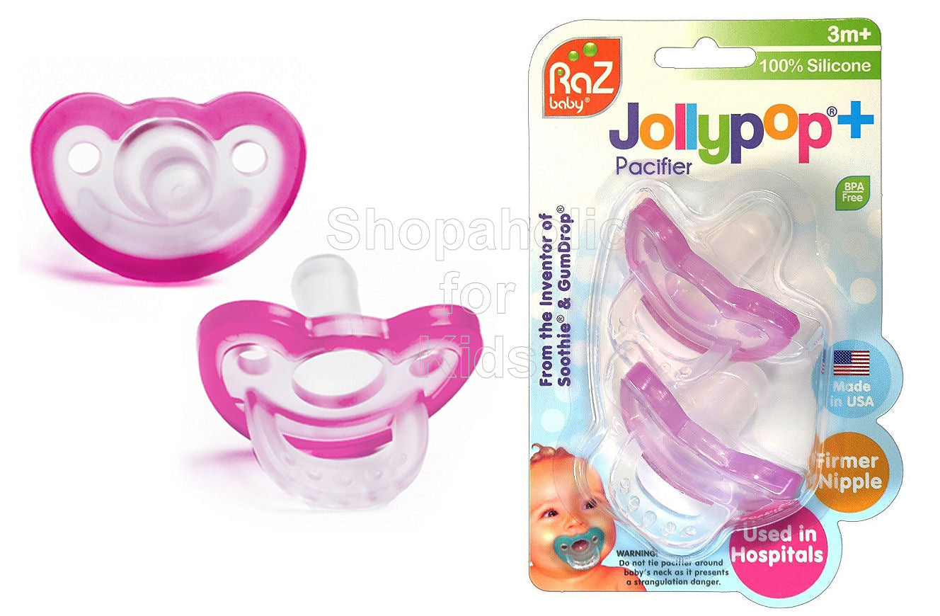 RaZbaby JollyPop Pacifier Plus (3m+, Pink) 2pk - Shopaholic for Kids