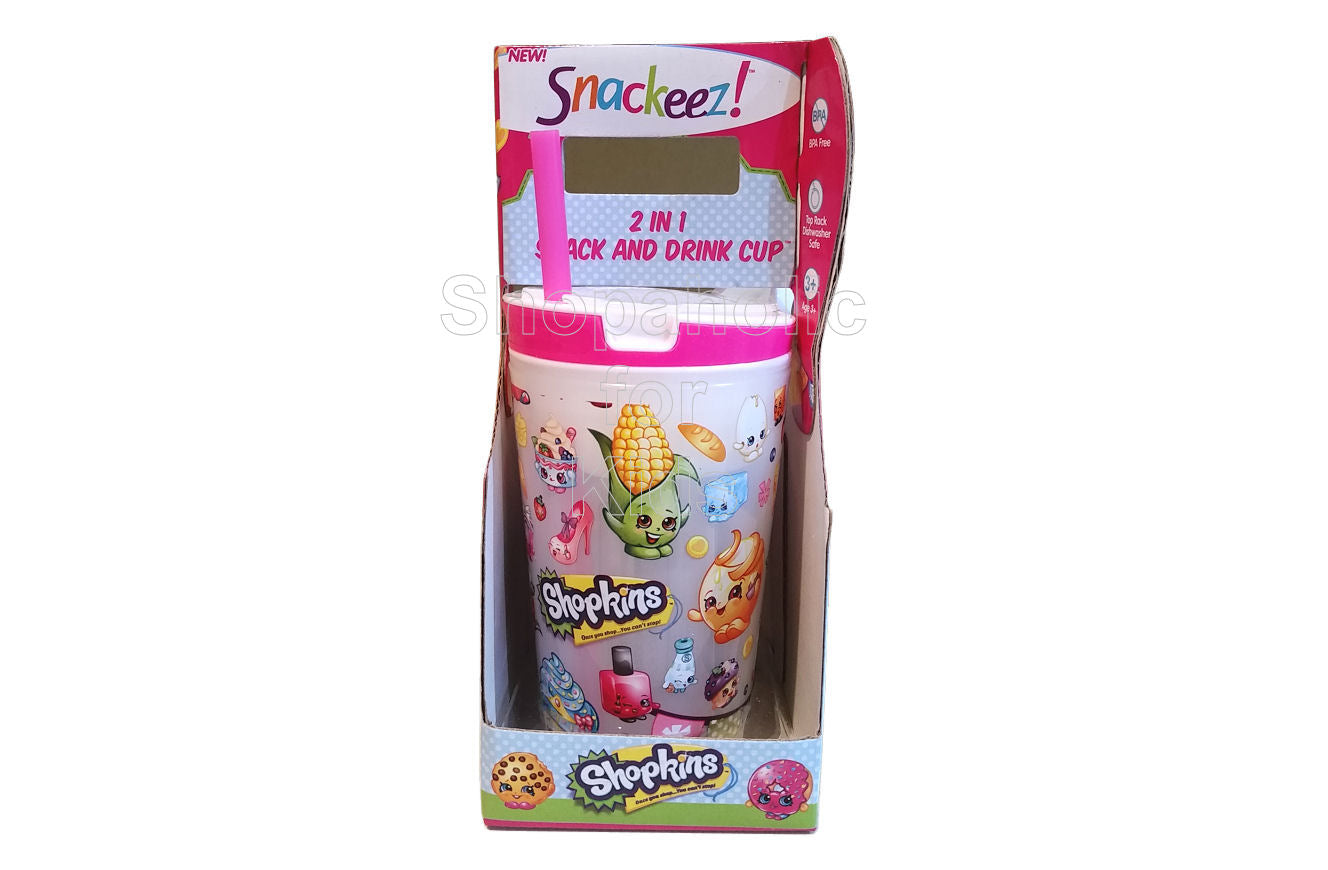 Shopkins Snackeez 2 in 1 Snack and Drink Cup - White Top - Shopaholic for Kids
