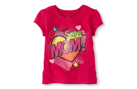 Children's Place Super Mom Graphic Tee - Rio Pink