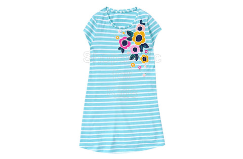 Gymboree Teal Striped Printed Shift Dress