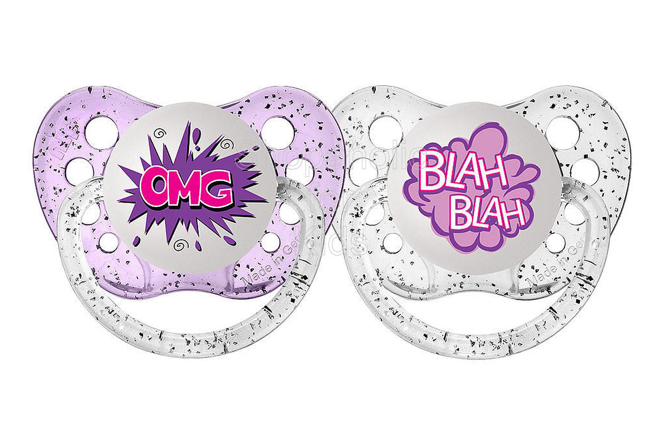 Ulubulu Expression Pacifier Set for Girls, OMG and Blah Blah, 6-18 Months