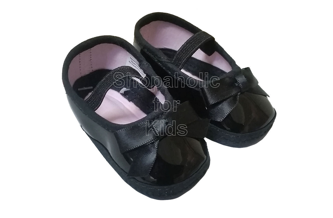 Wee Kids Baby Girl Black Shoes, Newborn (0-3mos)