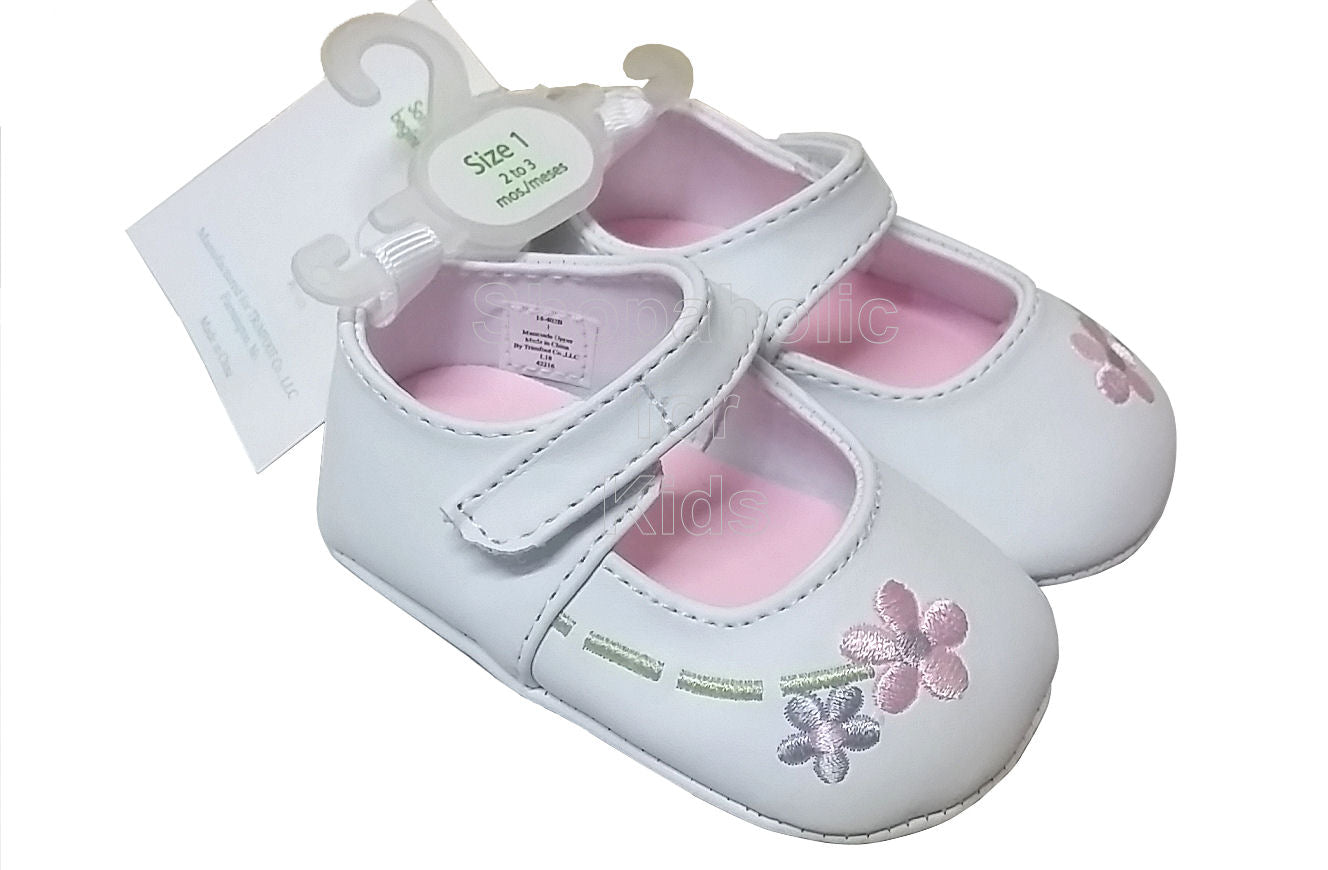 Wee Kids White Floral Baby Girl Shoes, Size 1 (2-3mos) - Shopaholic for Kids