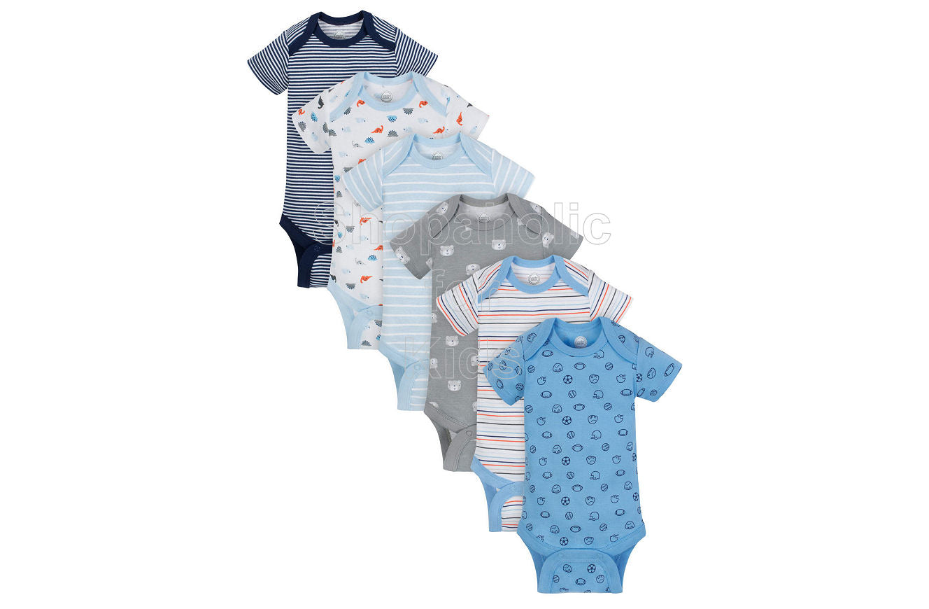 Wonder Nation Short Sleeve Bodysuit for Boys, Dinosaur and Bears, 3-6mos, Pack of 6