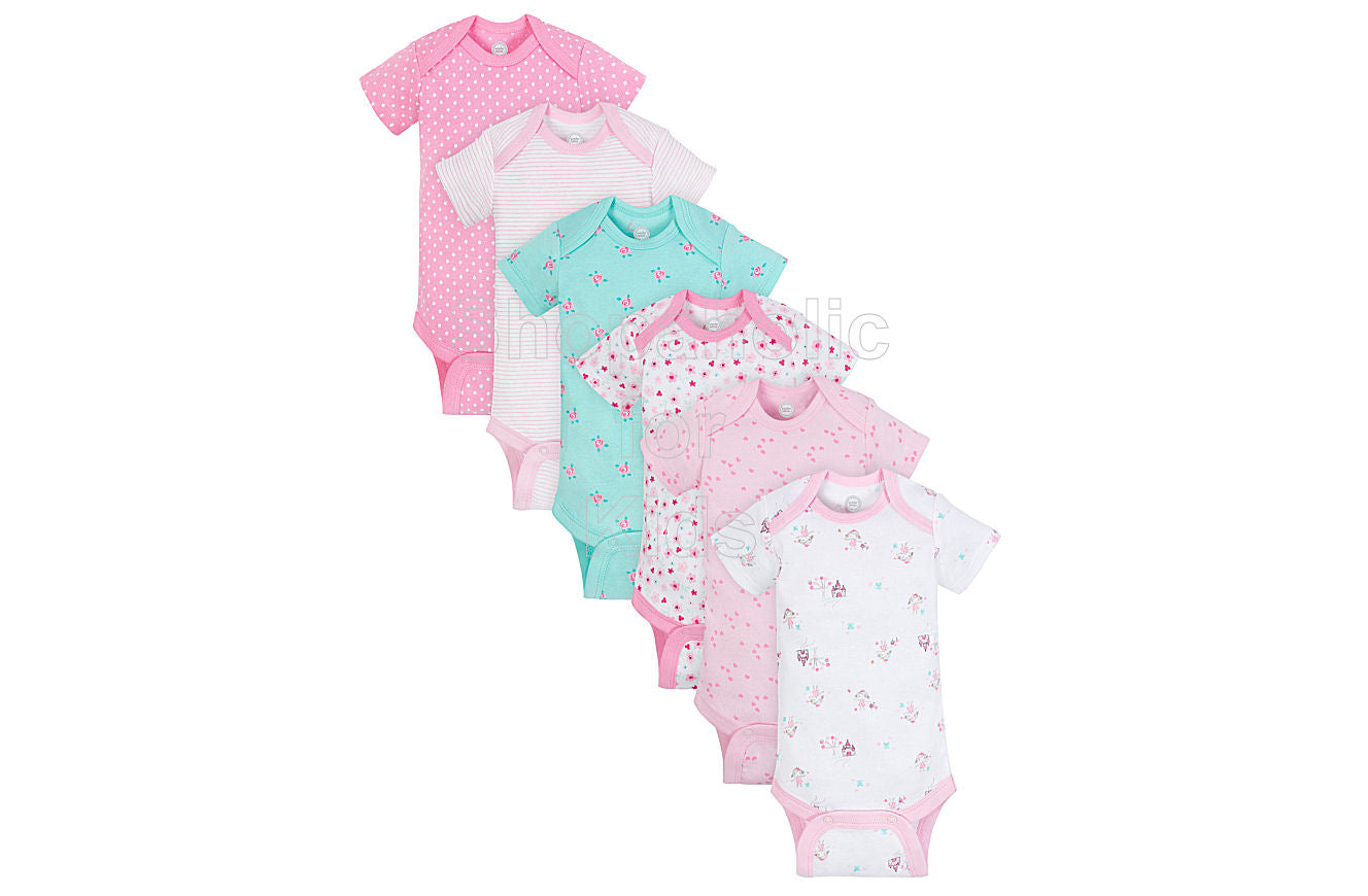 Wonder Nation Short Sleeve Bodysuit for Girls, Flowers, 3-6mos, Pack of 6