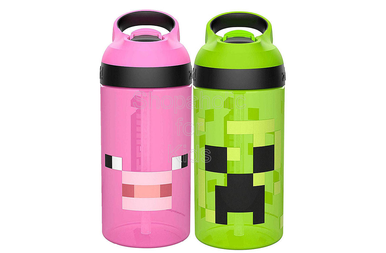 Zak Designs Minecraft Kids Water Bottle with Straw and Built in Carrying Loop Set