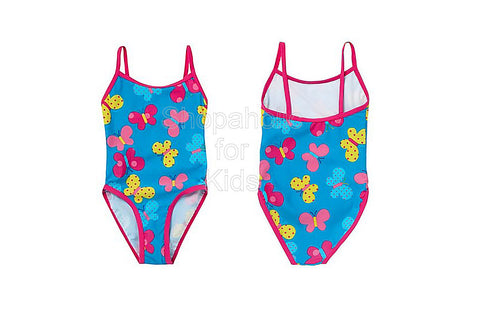 Bluezoo Girl's Bright Blue Butterfly Printed Swimsuit