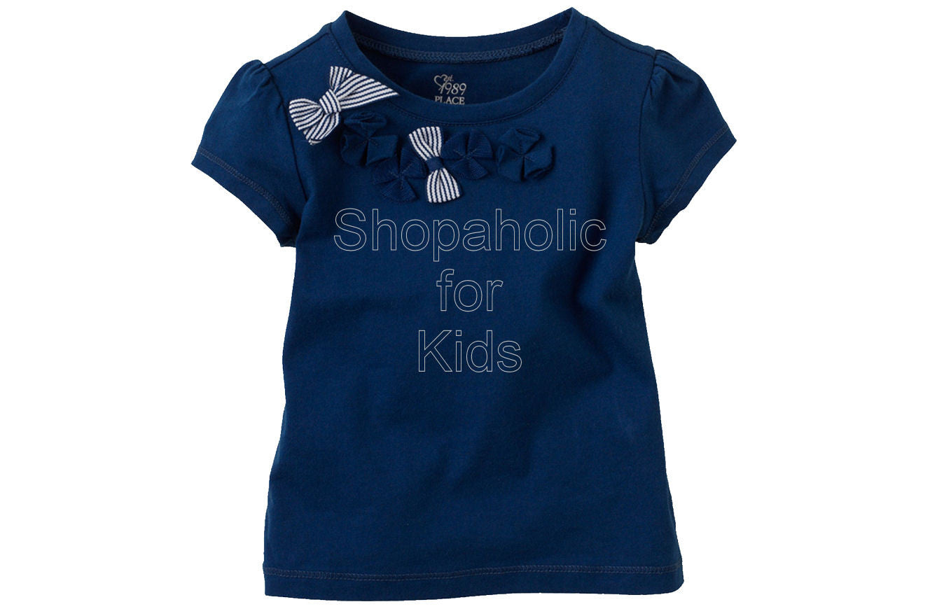 Children's Place Bow Embellished Top Color: Cruise - Shopaholic for Kids