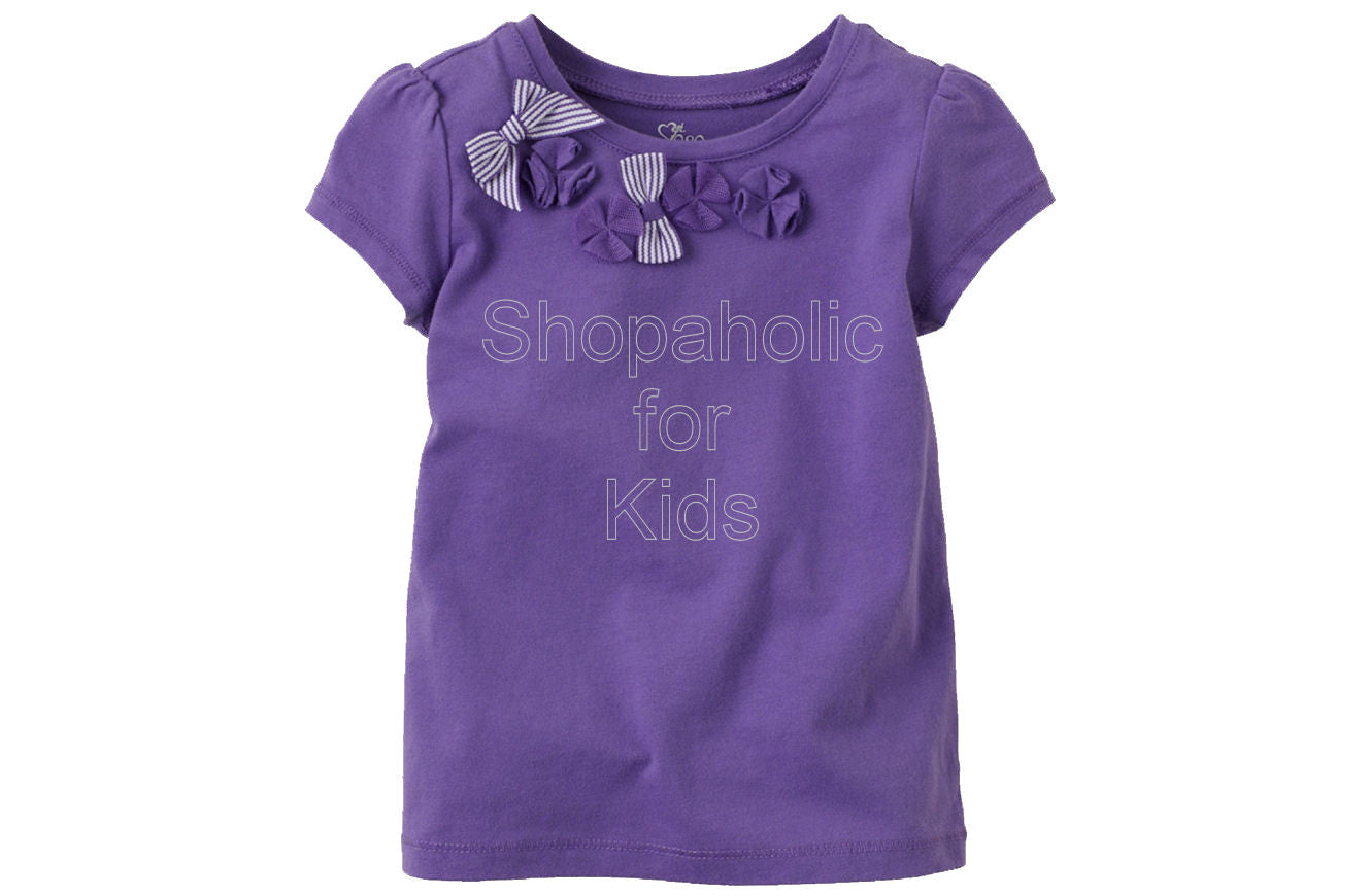Children's Place Bow Embellished Top Color: Pansy - Shopaholic for Kids