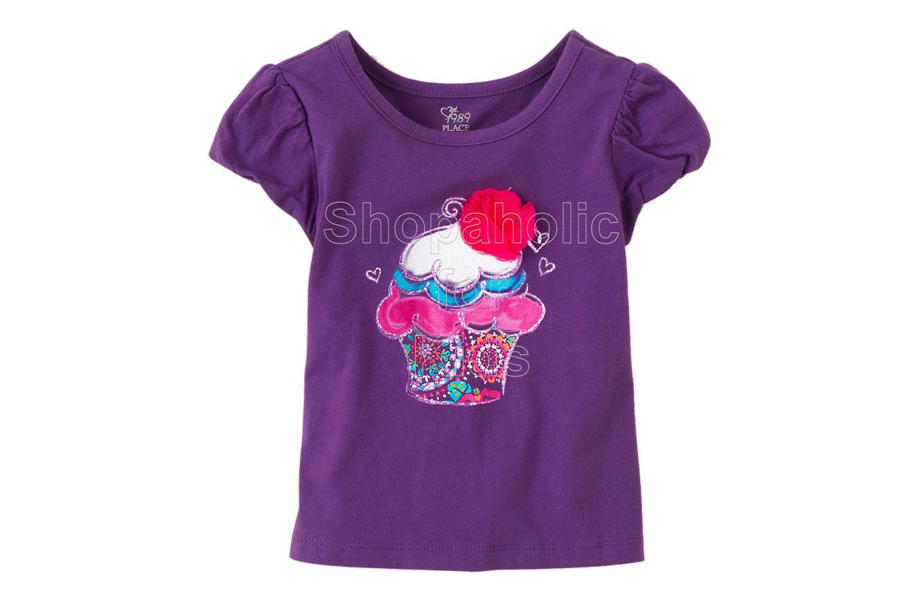 Children's Place Bubble Sleeve Graphic Tee - Plum Sky - Shopaholic for Kids