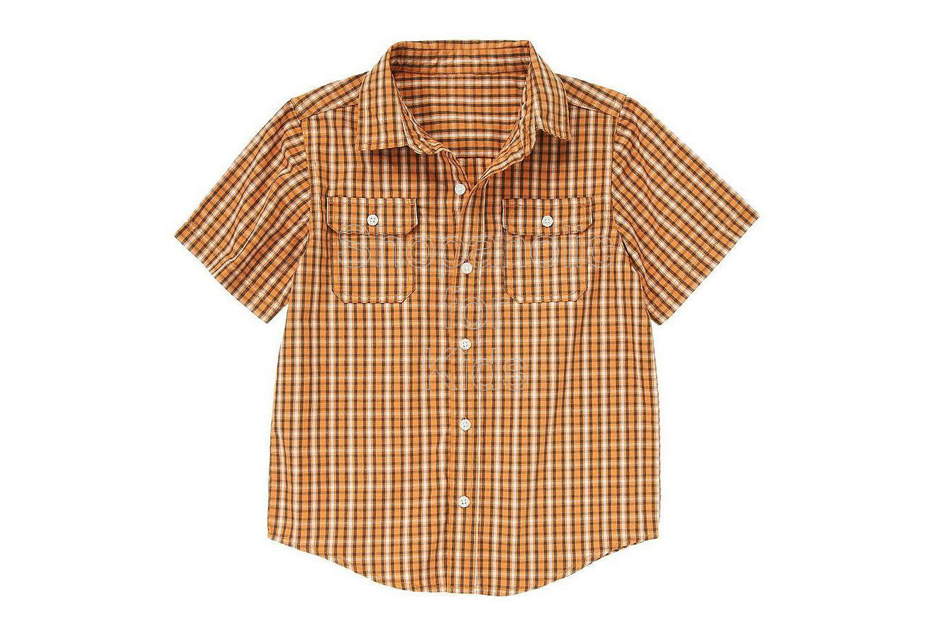 Crazy8 Button Pocket Checked Shirt Amber Orange - Shopaholic for Kids