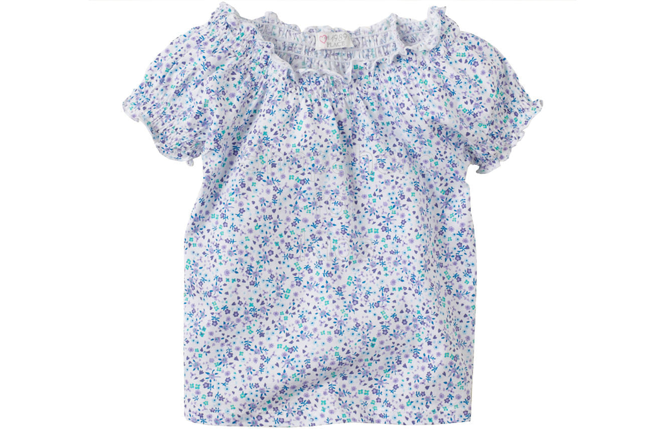 Children's Place Floral Smocked Top Color: Pansy - Shopaholic for Kids