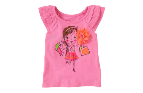Children's Place Girly Graphic Flutter Tee Ruffle