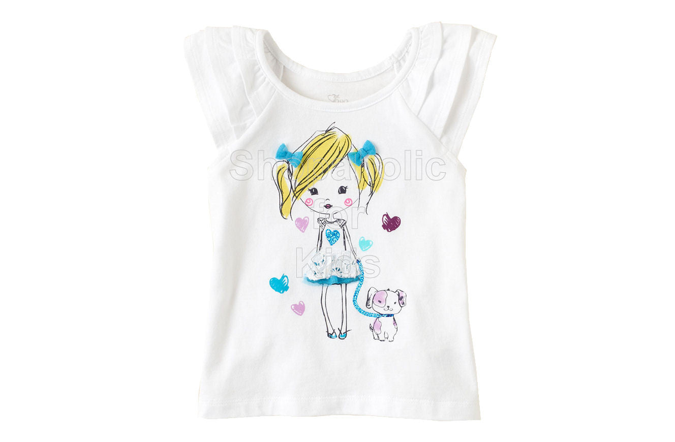 Children's Place Girly Graphic Flutter Tee White - Shopaholic for Kids