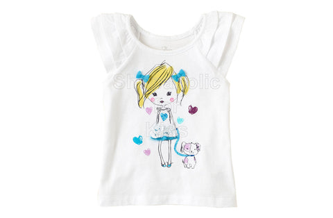 Children's Place Girly Graphic Flutter Tee White