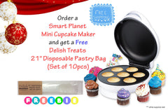 Smart Planet Mini Cupcake Maker and Free Pastry Bag Bundle