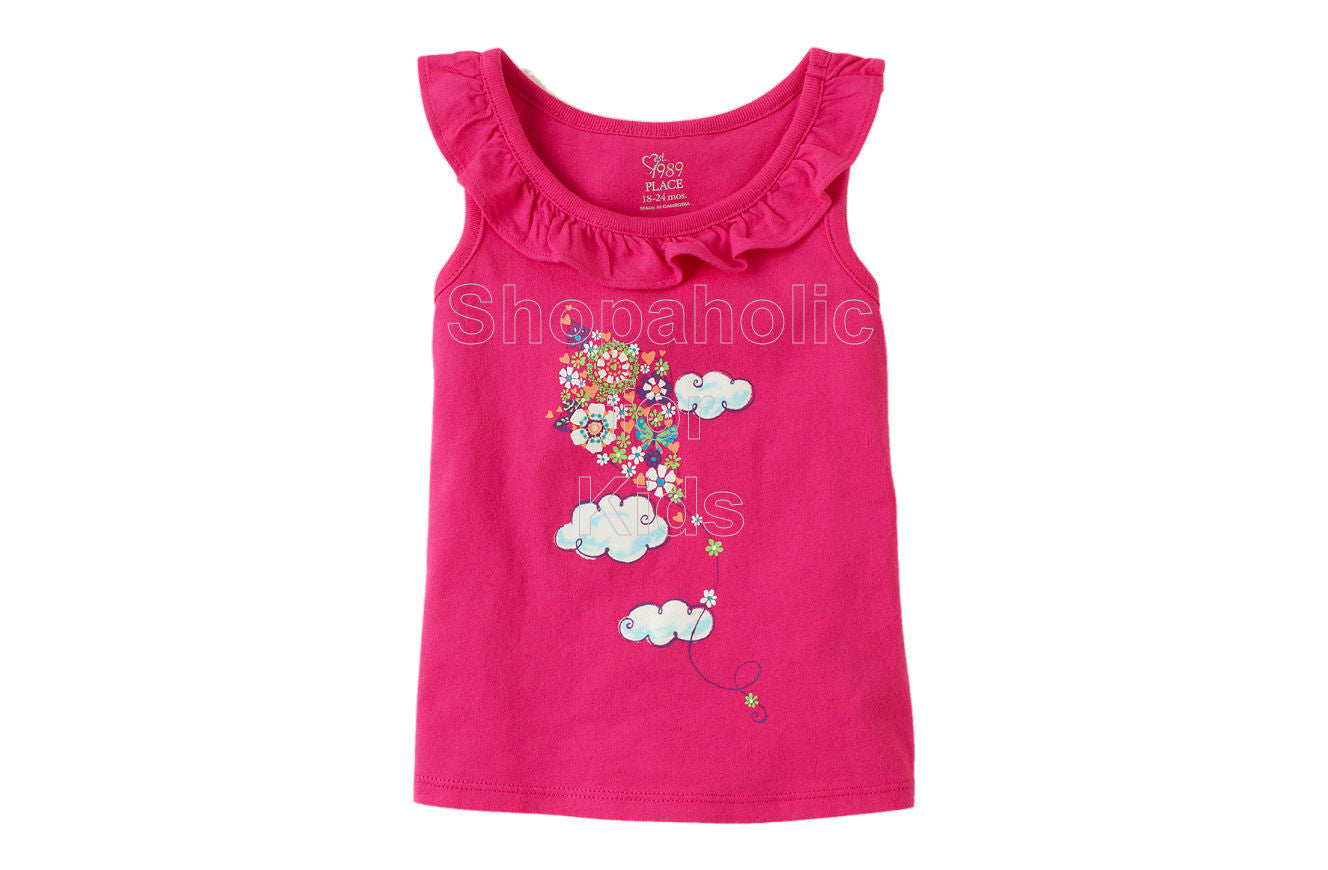 Children's Place Ruffle Graphic Top - Pink Fizz - Shopaholic for Kids
