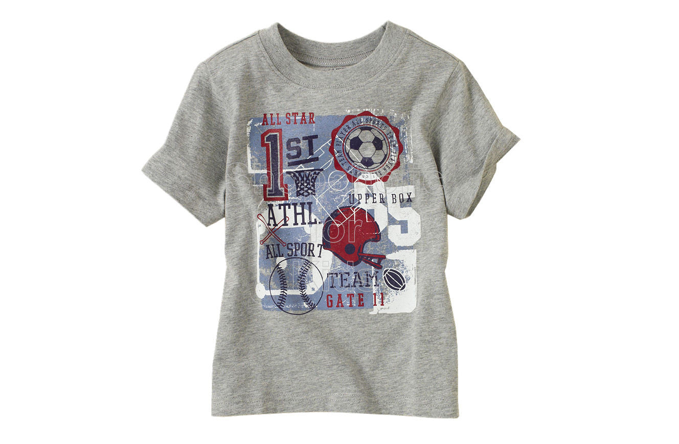 Children's Place  Sports Graphic Tee - H/T Grey - Shopaholic for Kids