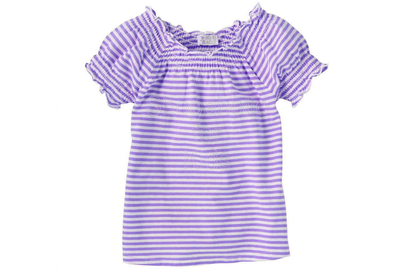 Children's Place Striped Smocked Top Color: Pansy - Shopaholic for Kids