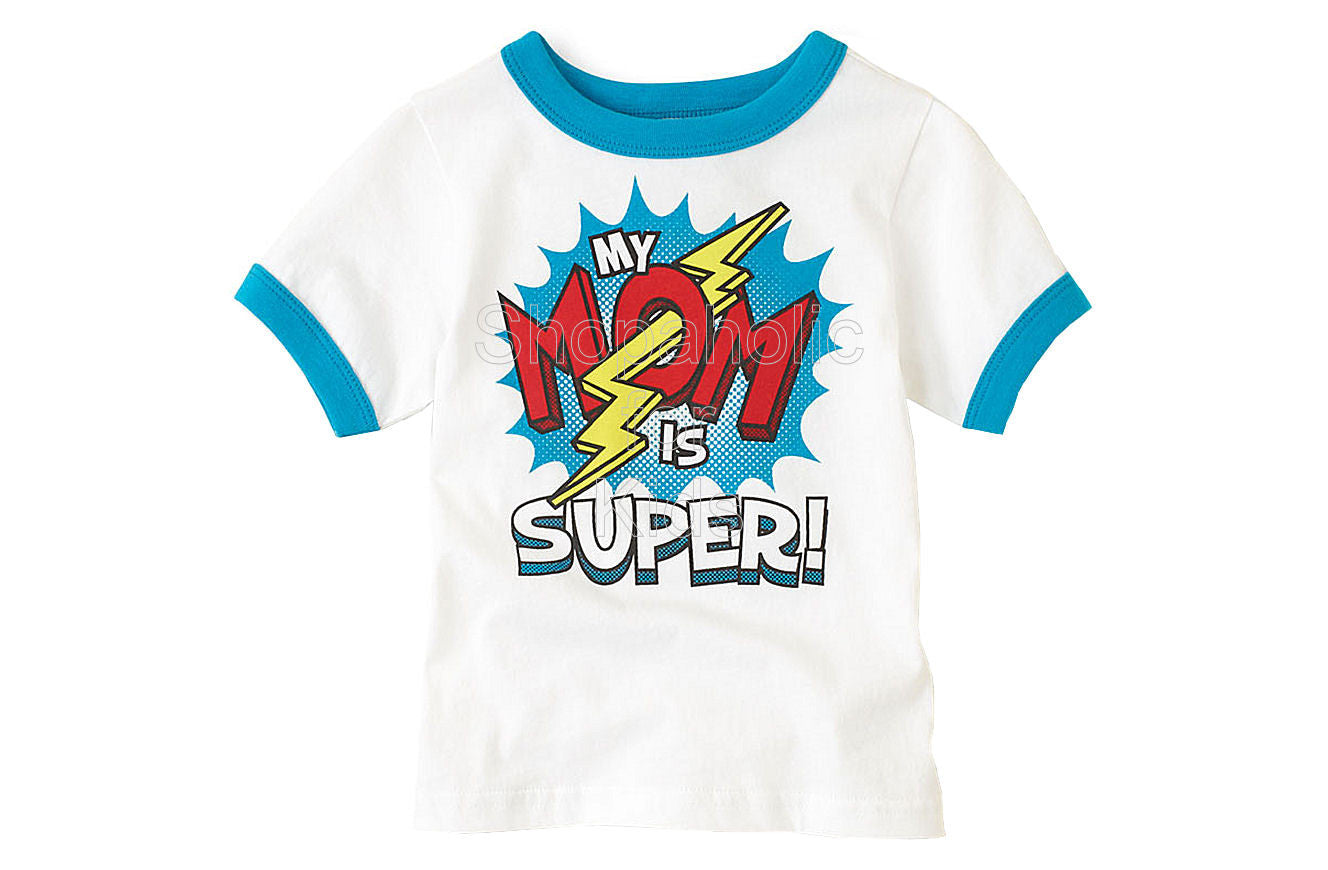 Children's Place Super Mom Graphic Tee - White - Shopaholic for Kids