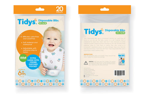 Tidys Disposable Bibs - Pack of 20