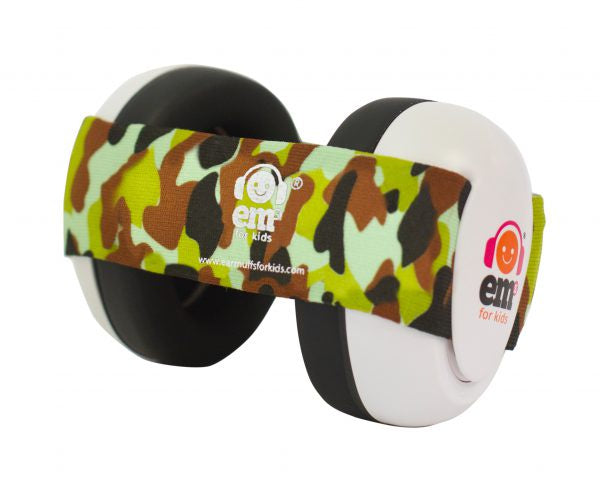 EM's 4 Kids Baby Ear Bubs - White /  Army Camo