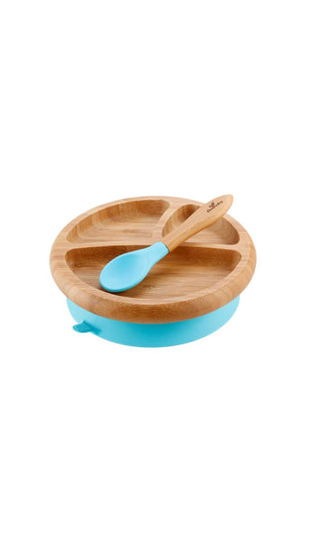 Avanchy Baby Bamboo Stay Put Suction Plate & Spoon - Blue