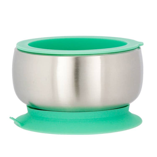 Avanchy Stainless Steel Suction Baby Bowl & Lid - Green