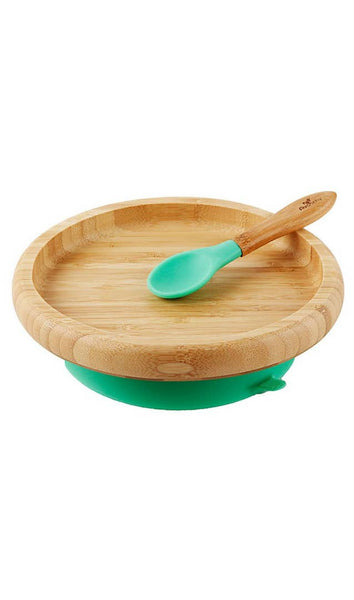 Avanchy Bamboo Suction Classic Plate & Spoon - Green