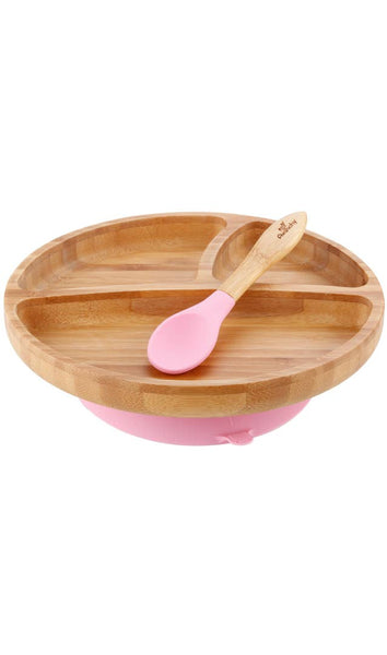 Avanchy Toddler Bamboo Stay Put Suction Plate & Spoon - Pink