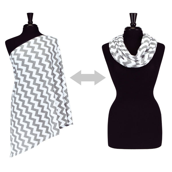 Itzy Ritzy Infinity Breastfeeding Scarf - Grey Chevron