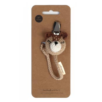 Cheengoo Crocheted Pacifier Clip - Fawn